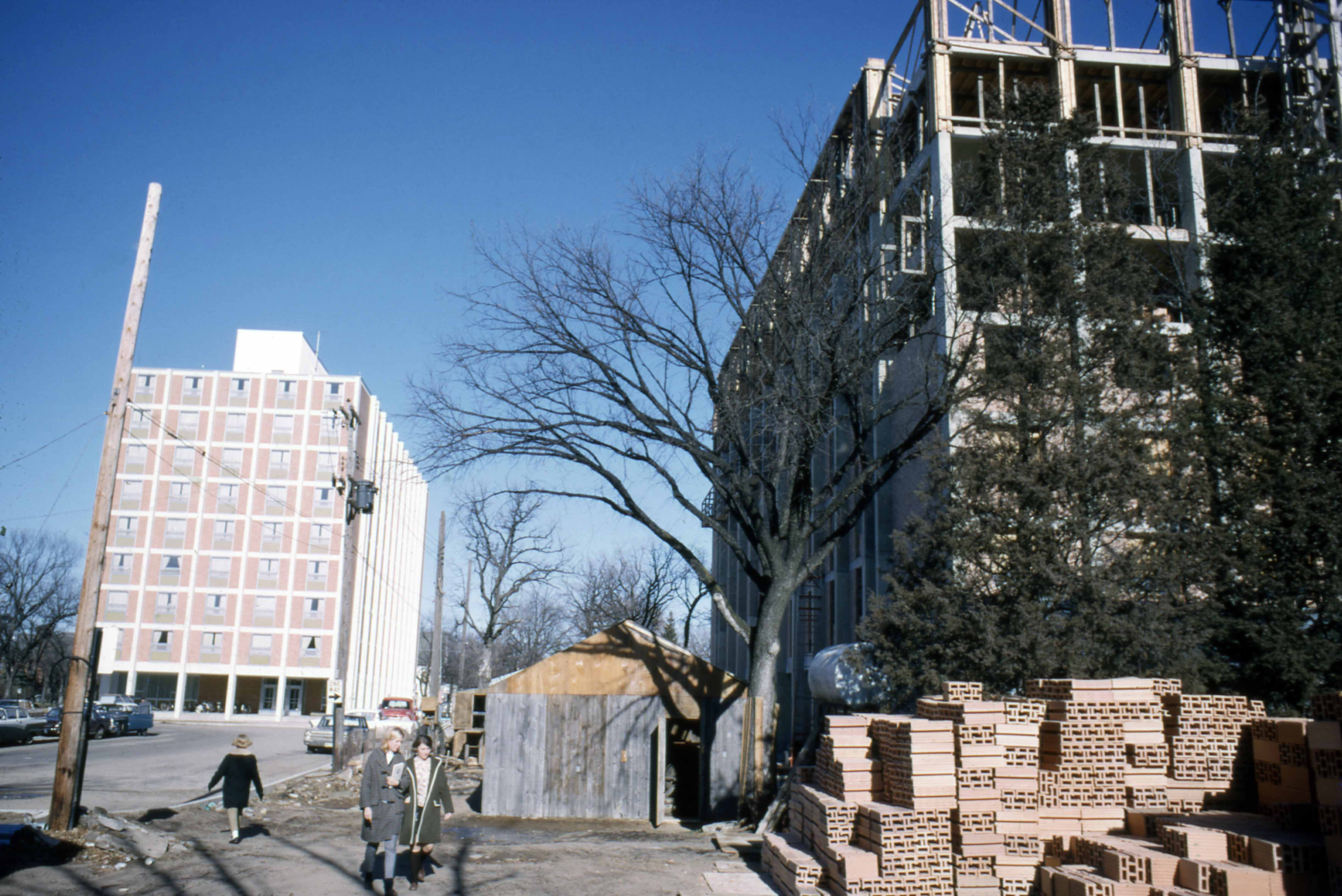Holes Hall (1965) and Stearns Hall (1966) under construction, 1966