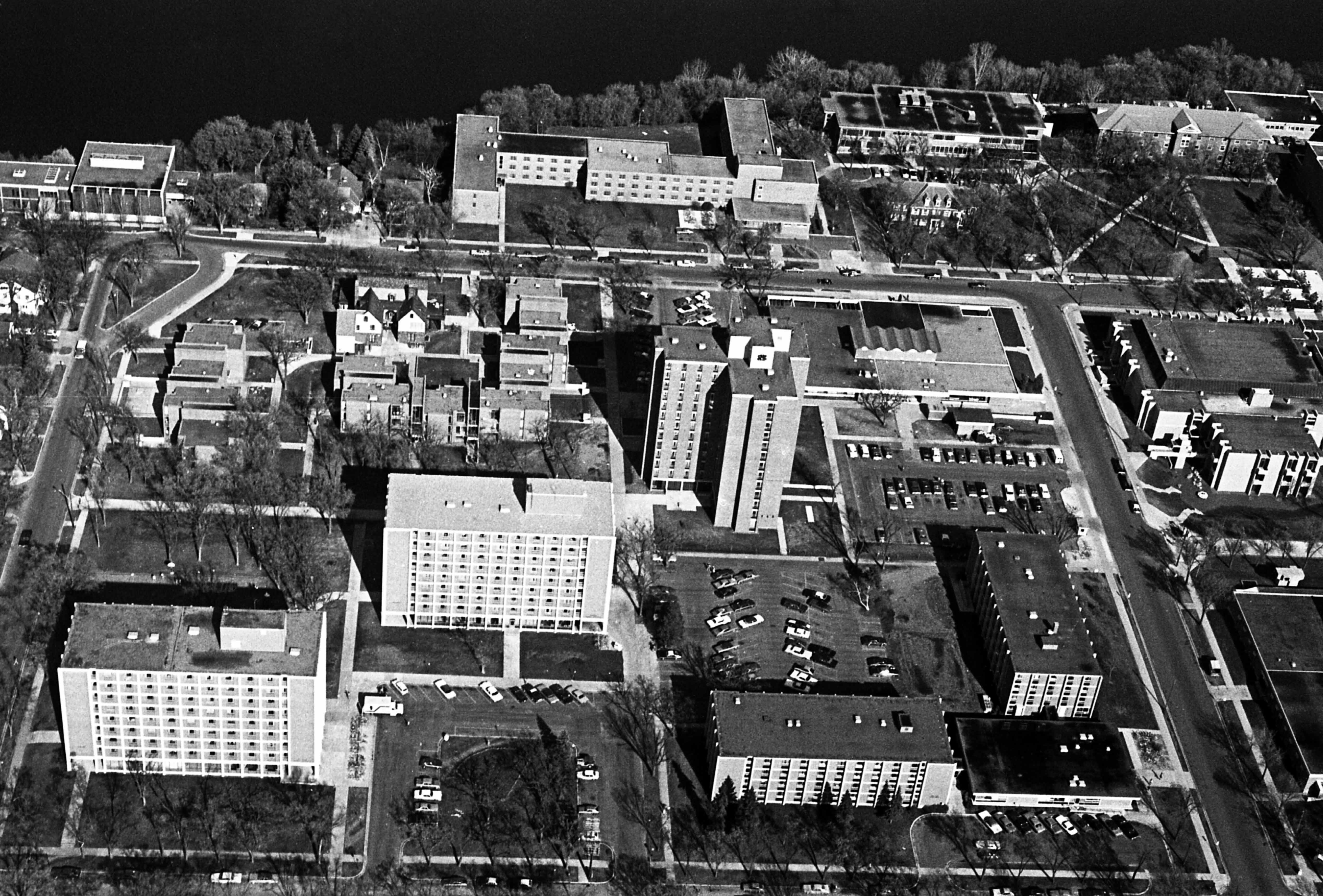Aerial view of north side dormitory complex, 1977