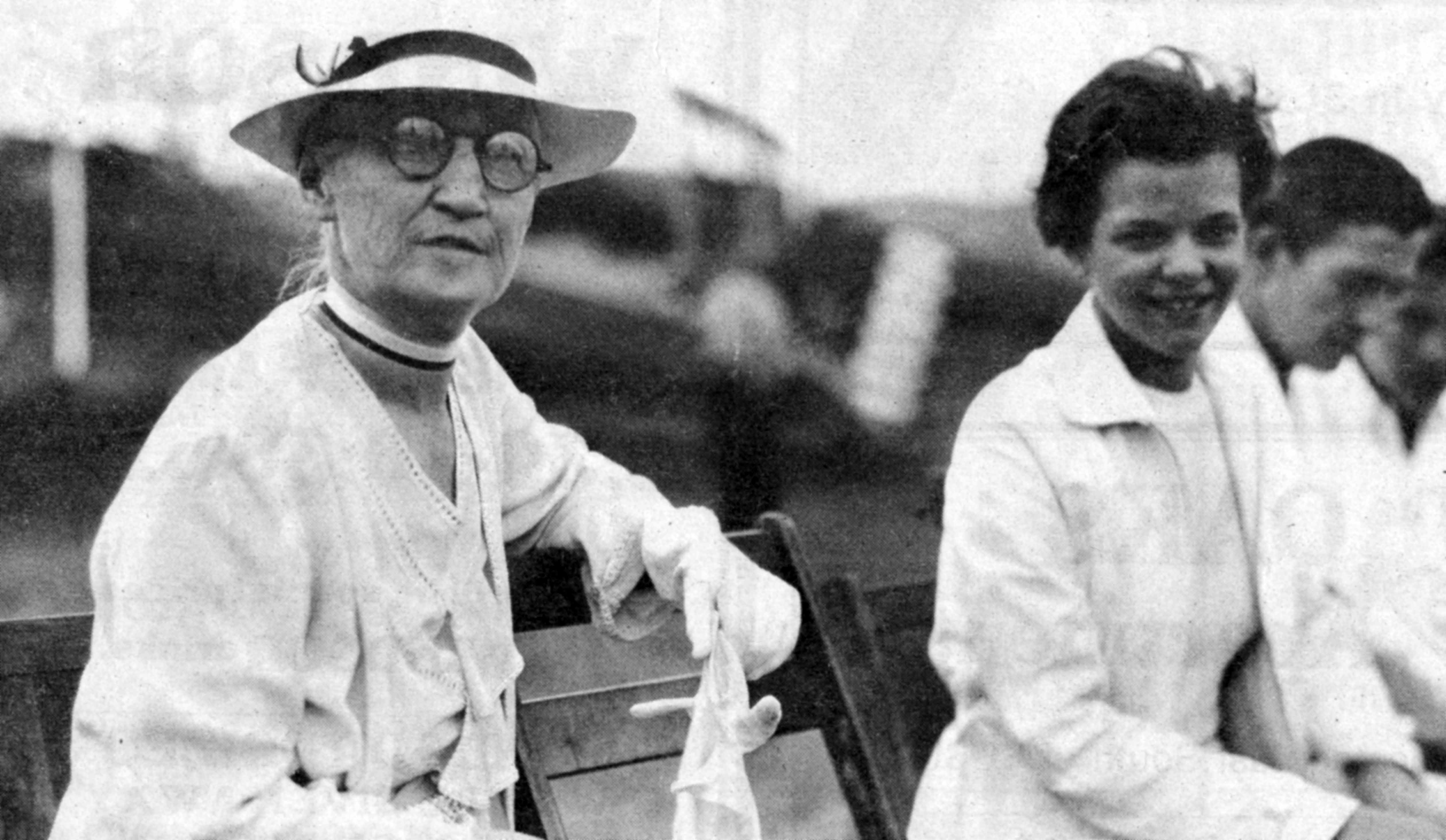 Alice Whitney and Edith Campbell at the dedication of the Whitney Memorial Airport, 1935