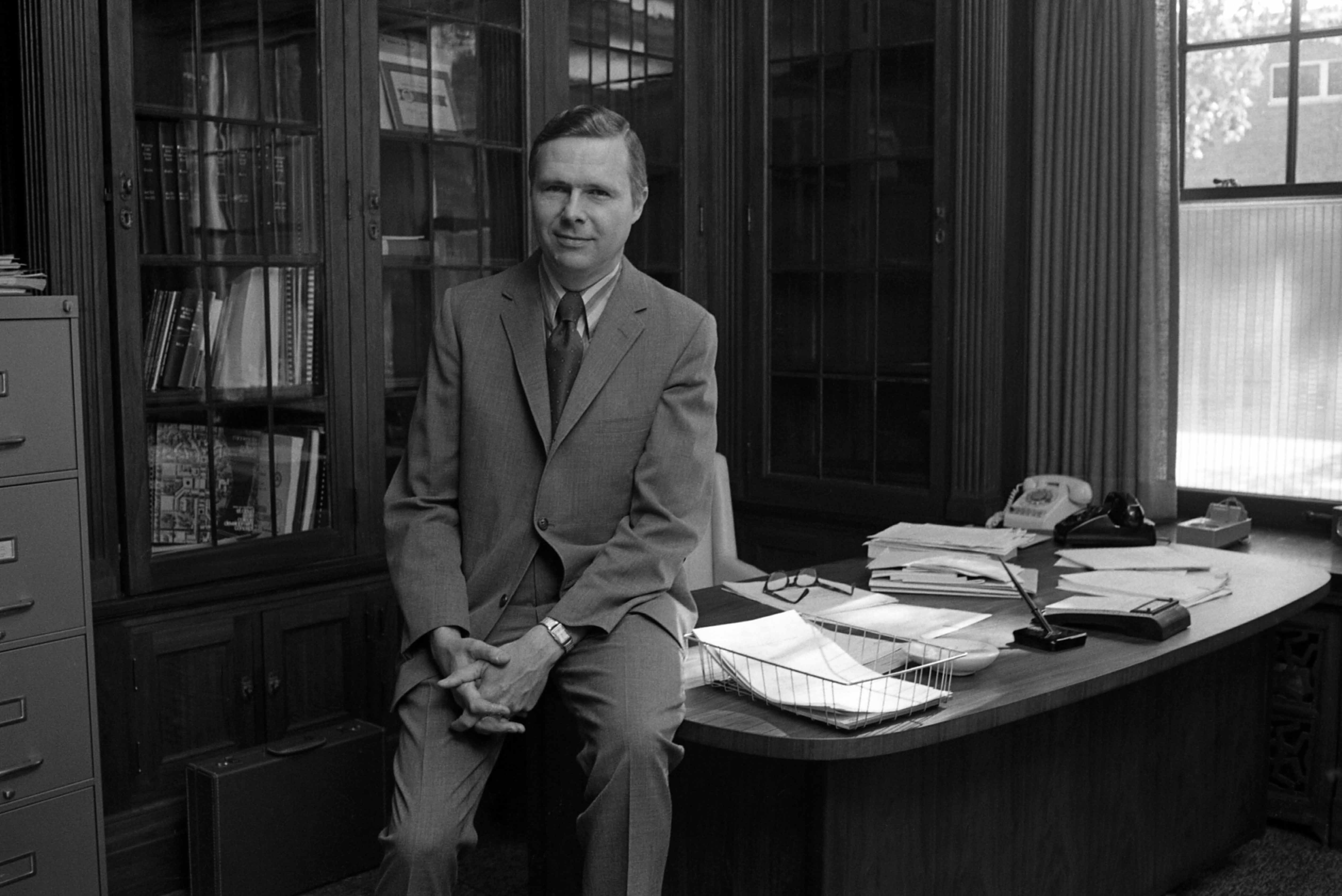 St. Cloud State president Charles Graham in his Whitney House office, 1971