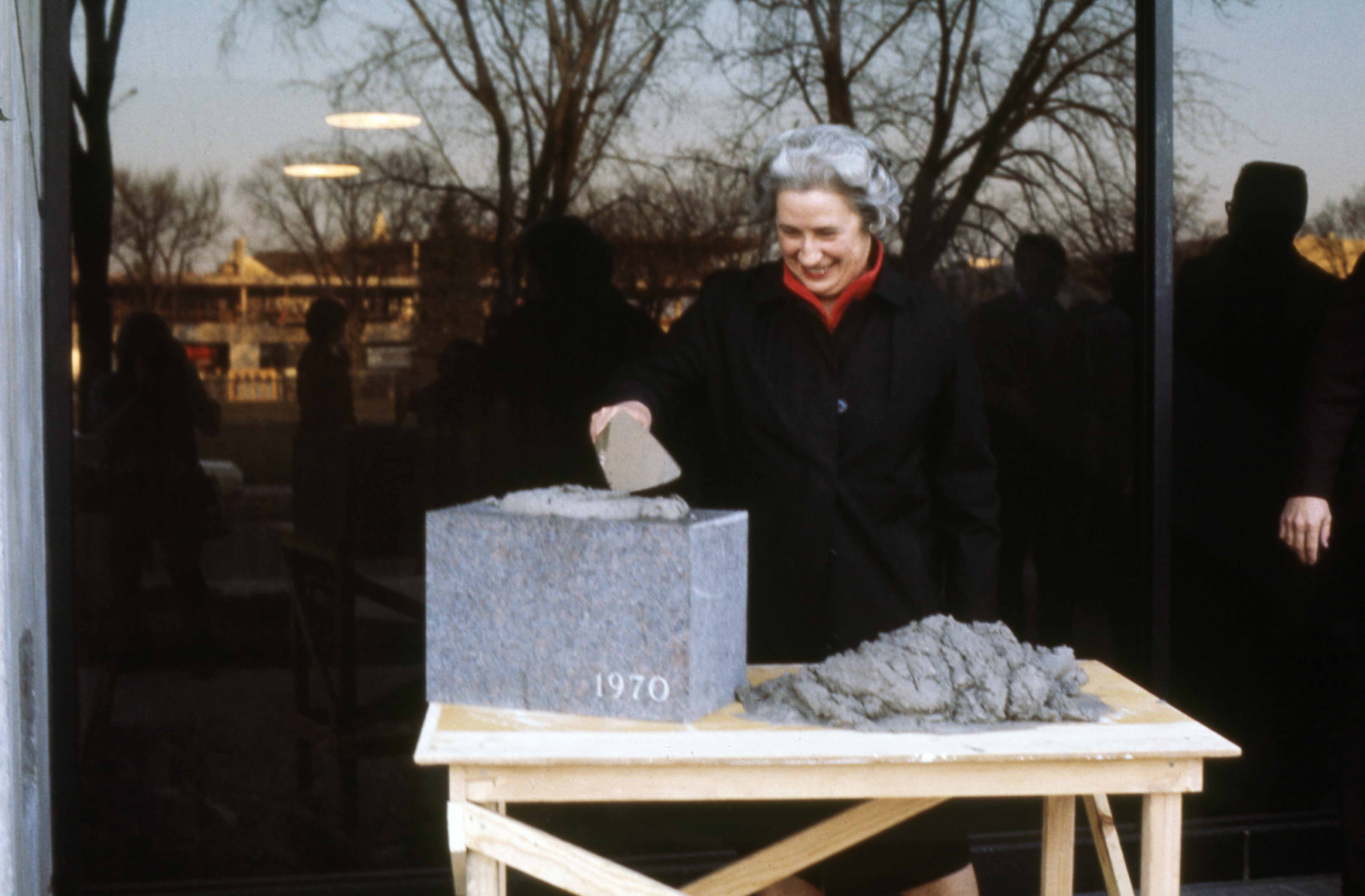 Irvame Applegate at the cornerstone laying ceremony, April 1972