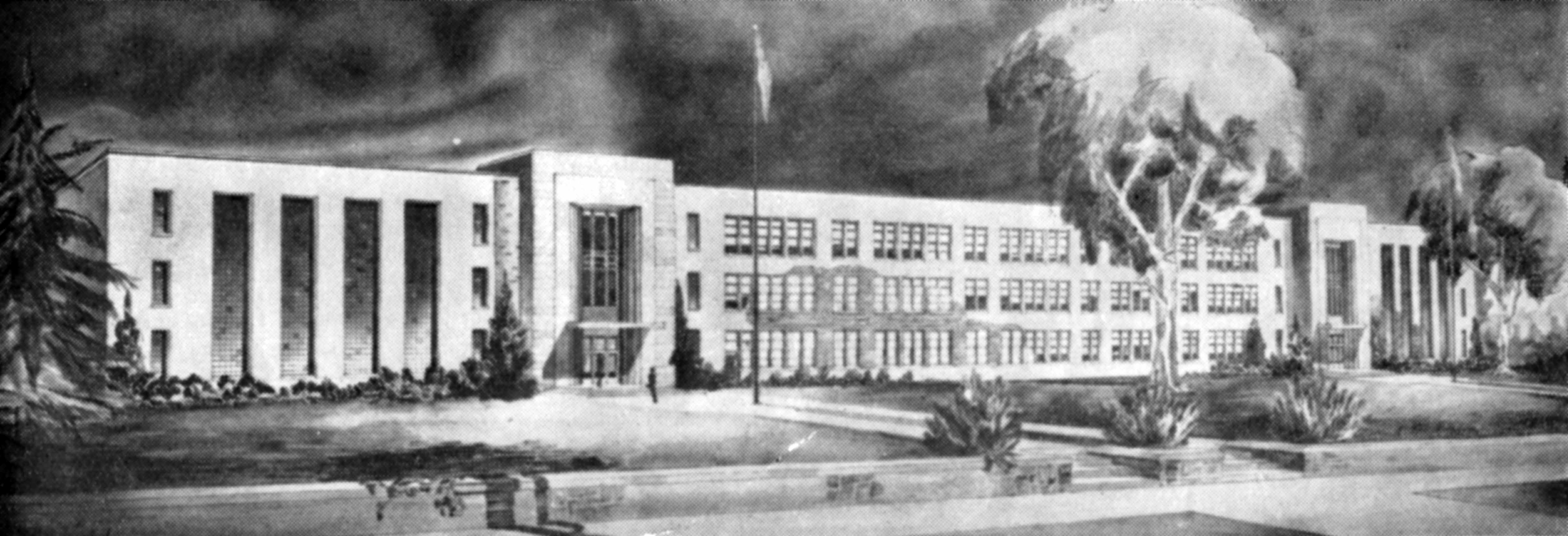Architect's rendering of Stewart Hall, early 1940s