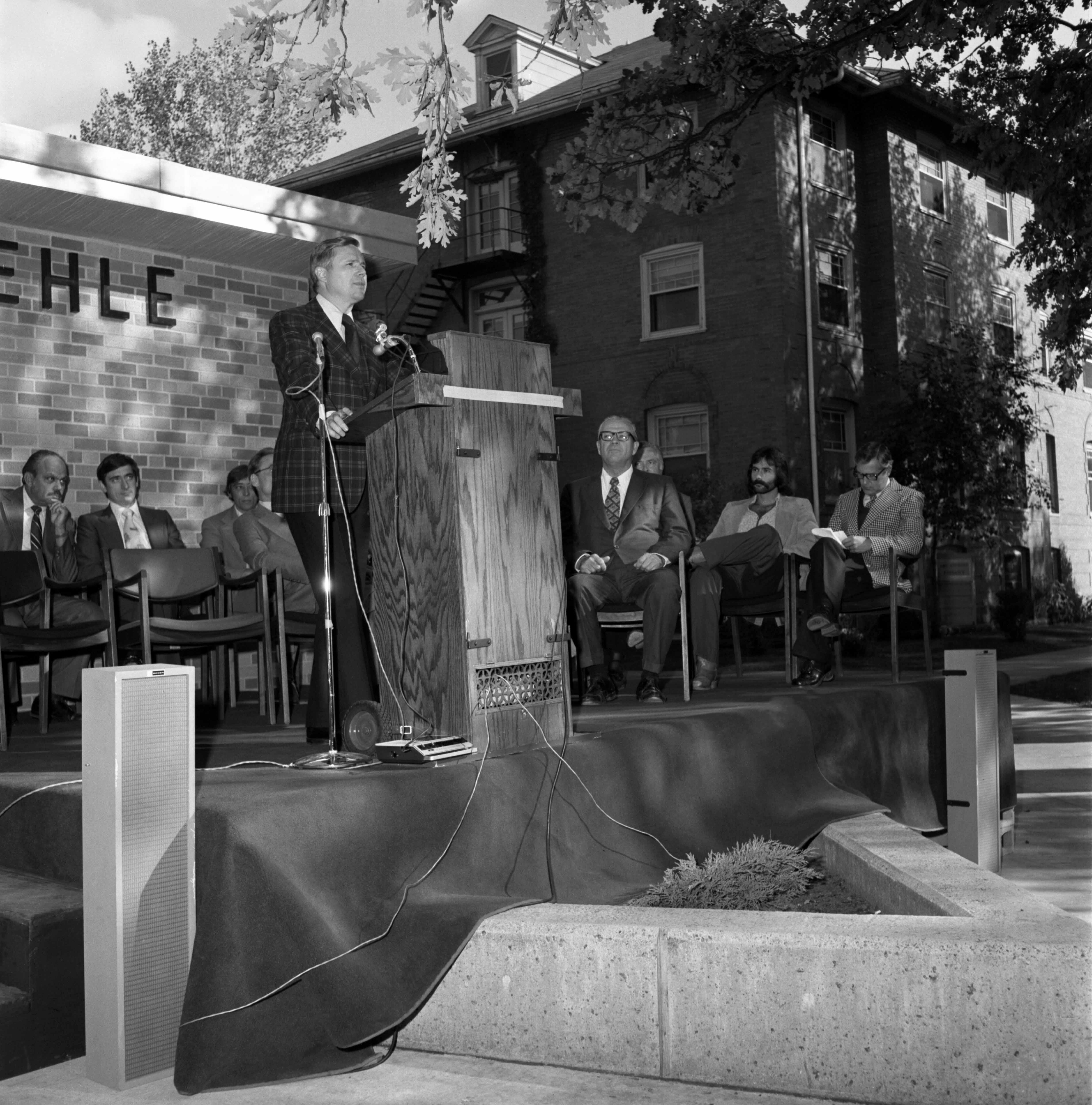 Charles Graham at the Kiehle rededication ceremony, September 1975
