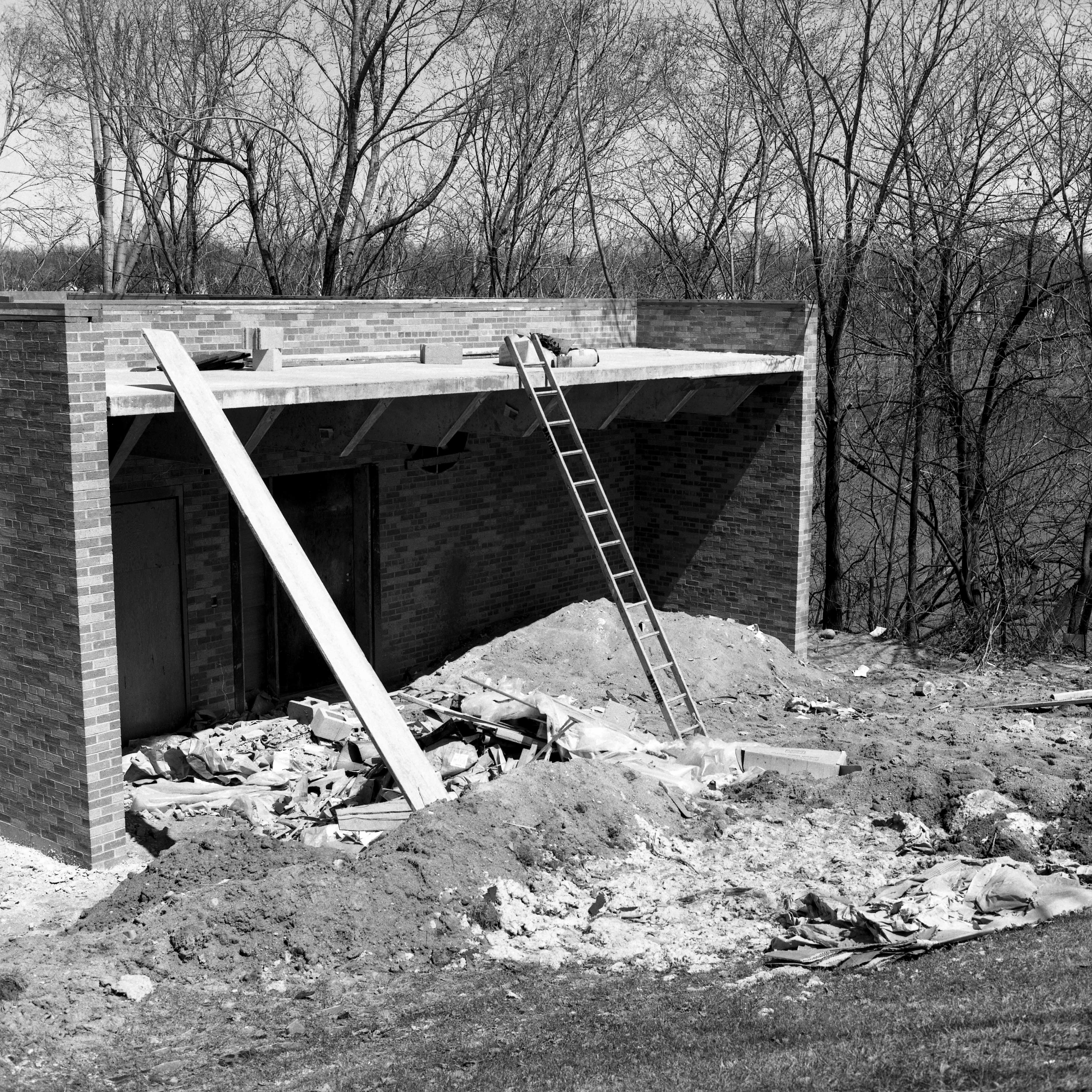 Kiehle addition on southeast side of building, April 1974