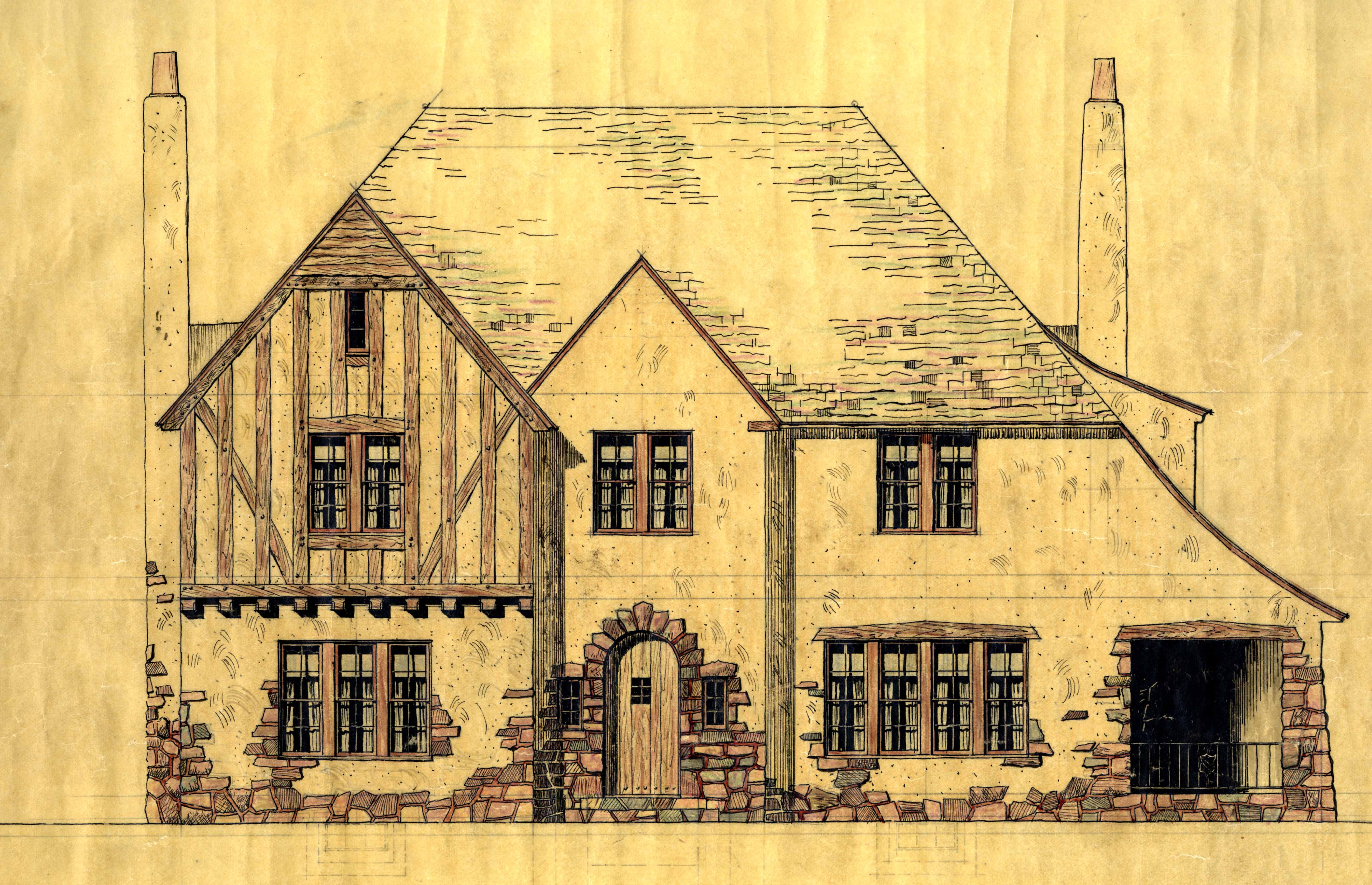 Architect rendering of Lewis House, 1920s