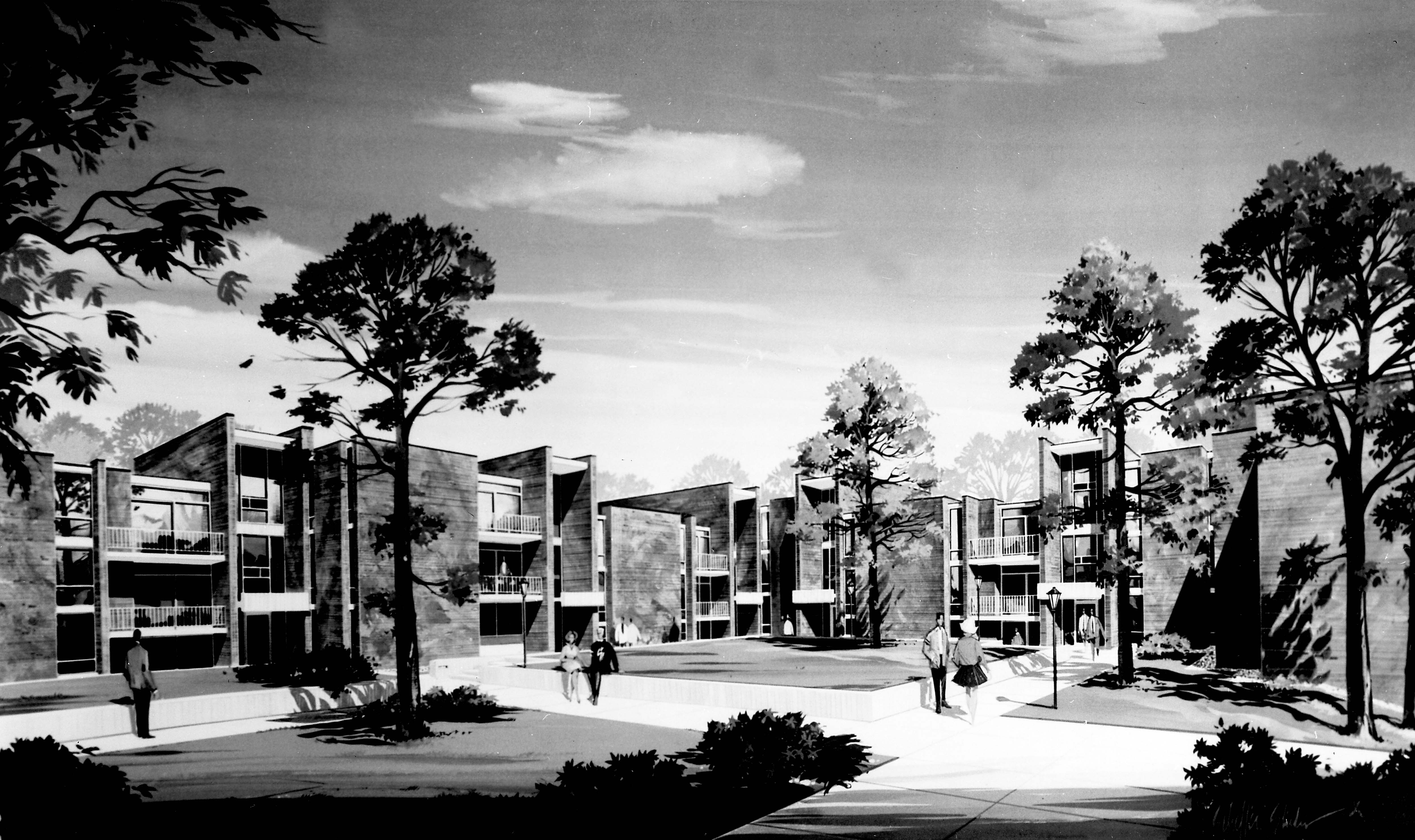 Architect's rendering of Benton Hall