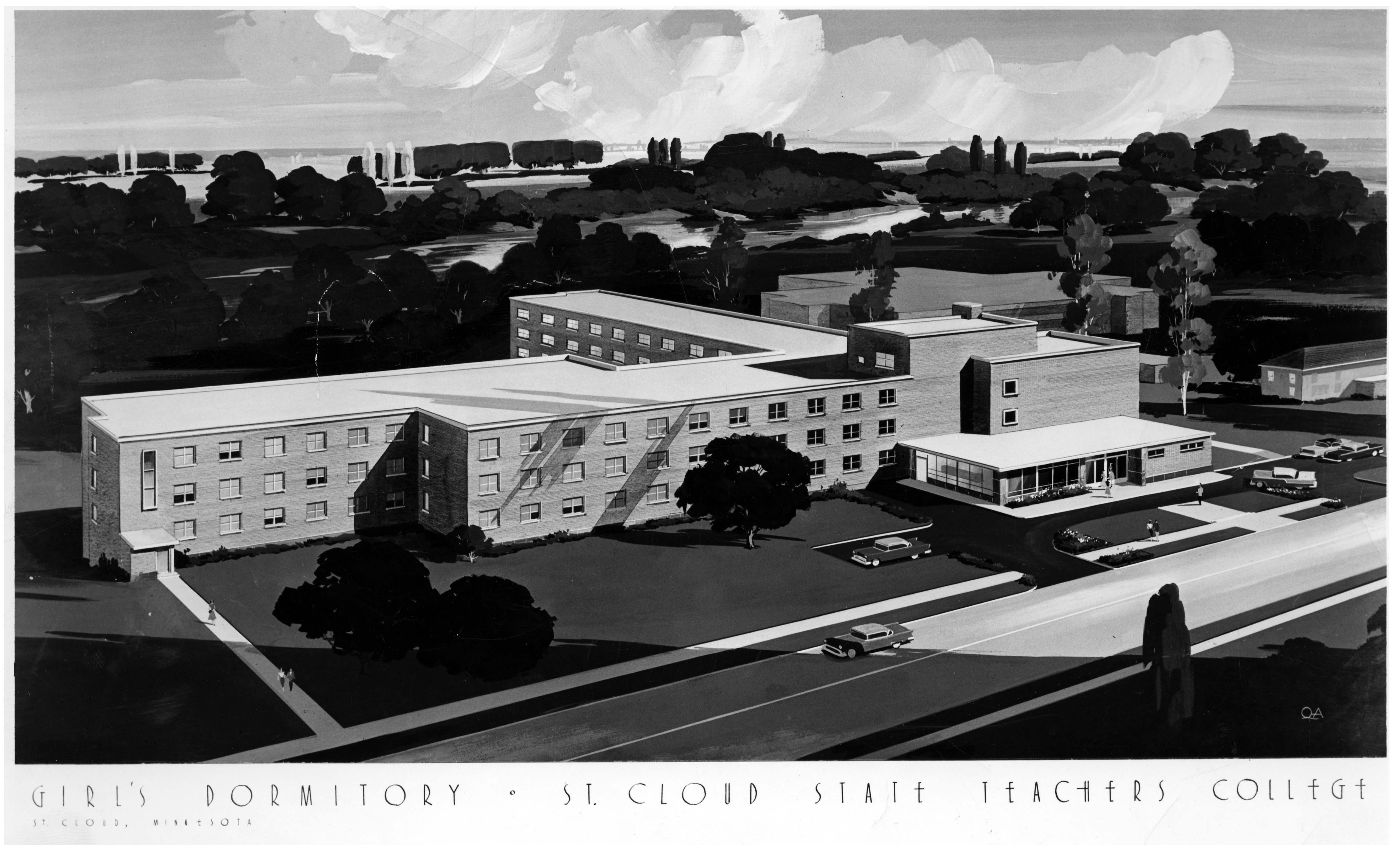 Architect's rendering of Mitchell Hall, 1956?