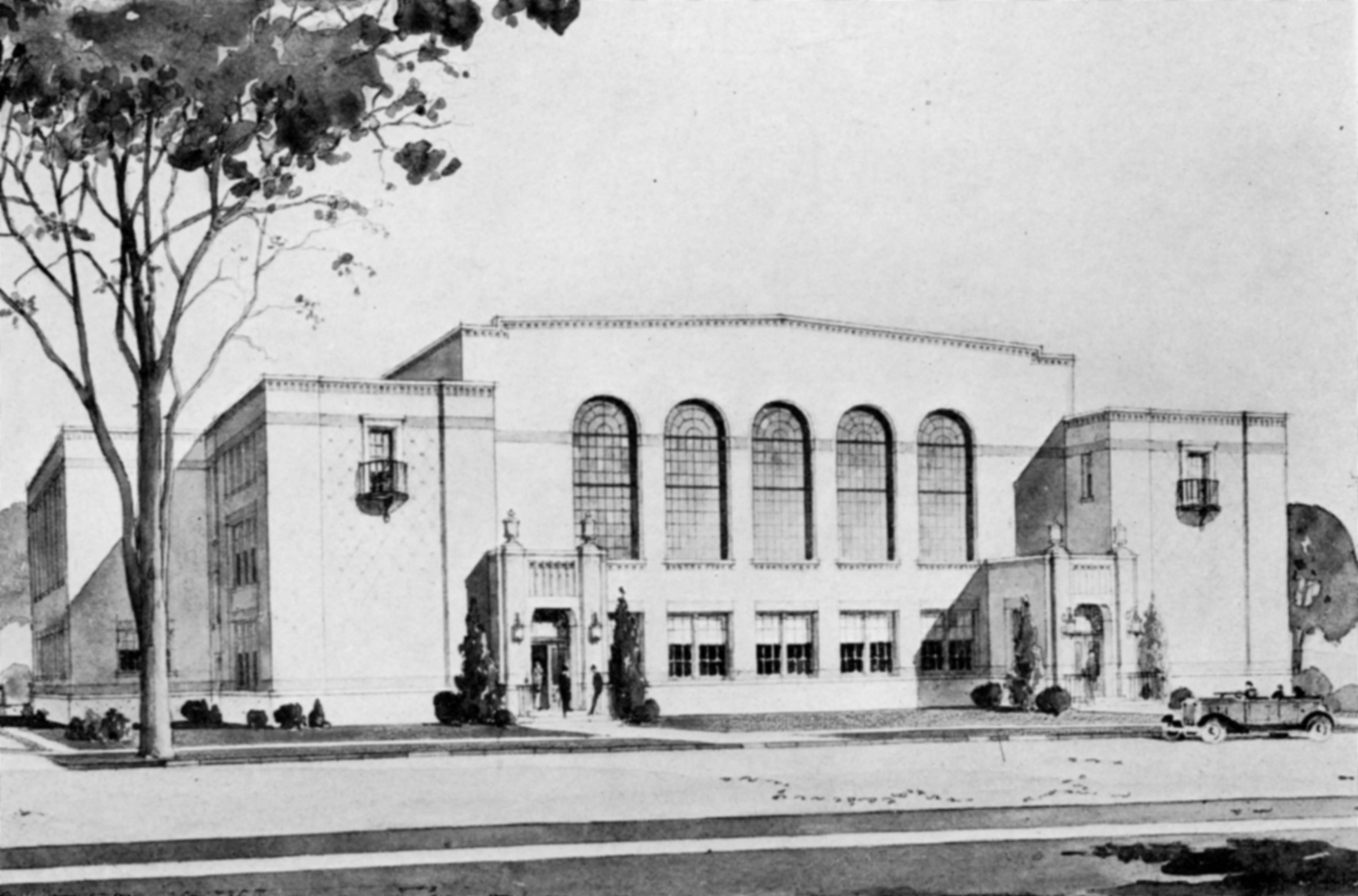 Architect's rendering of Eastman Hall, 1929