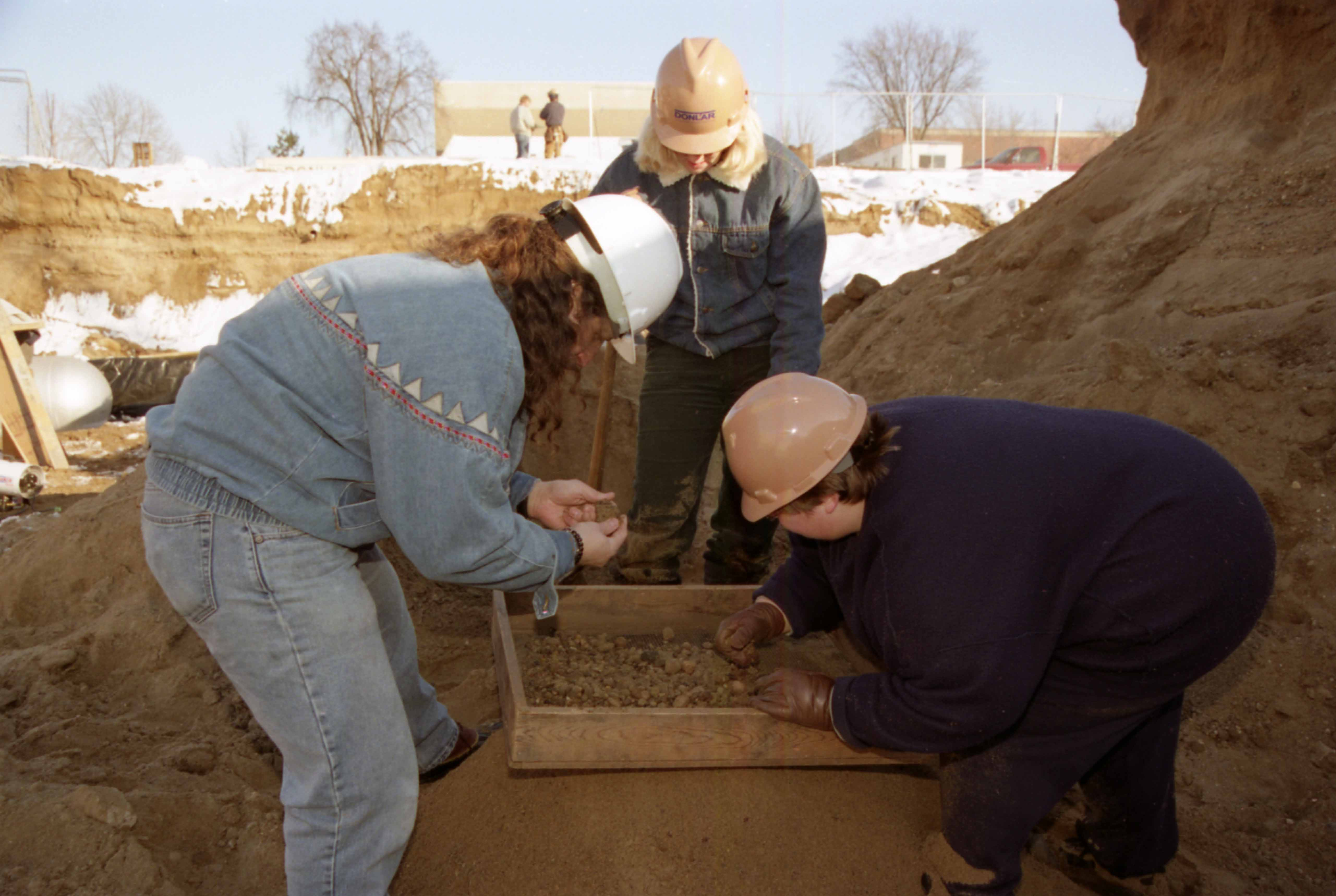 Archaelogists work at the Miller Center construction site, January 1999