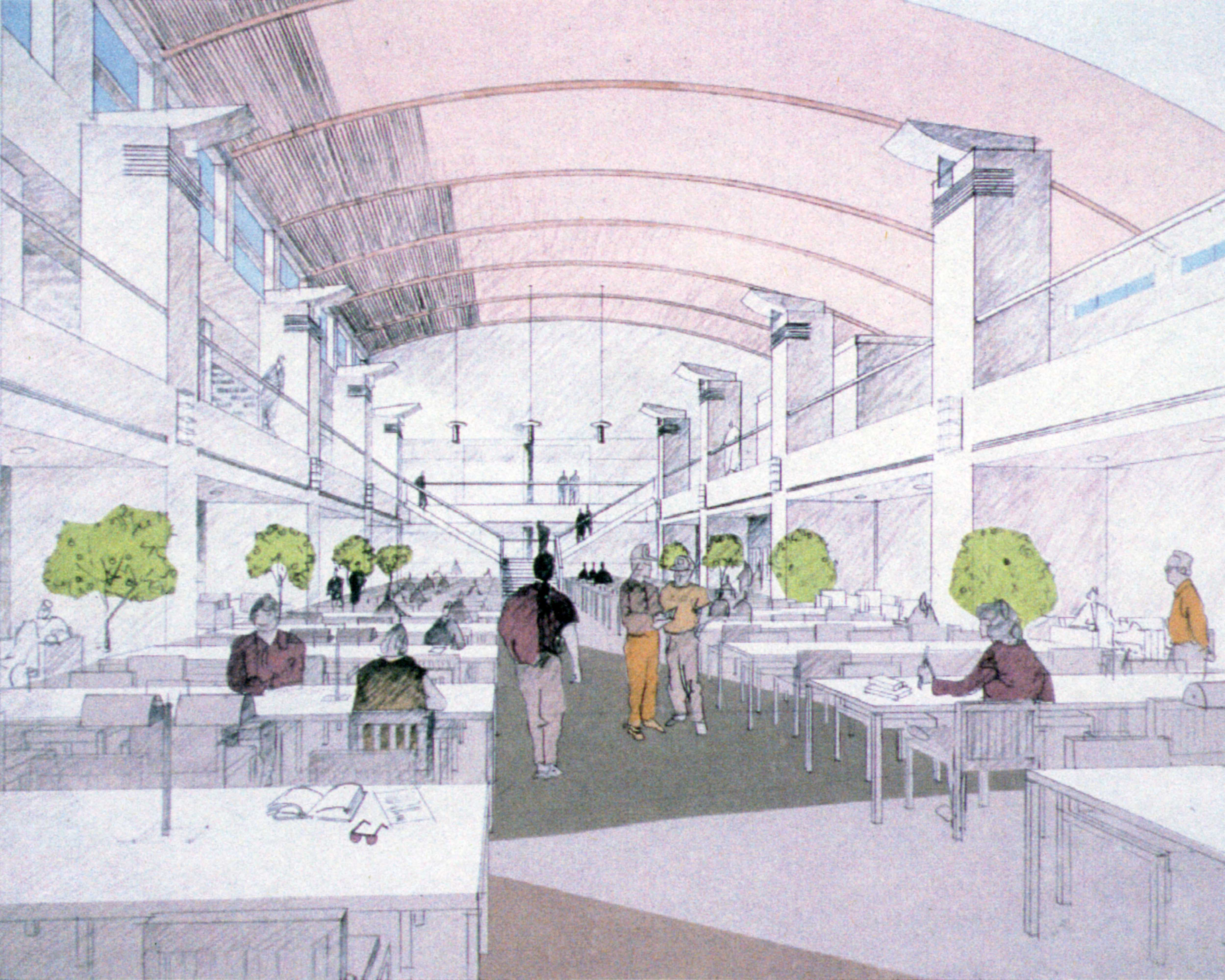 Drawing of Miller Center reading court