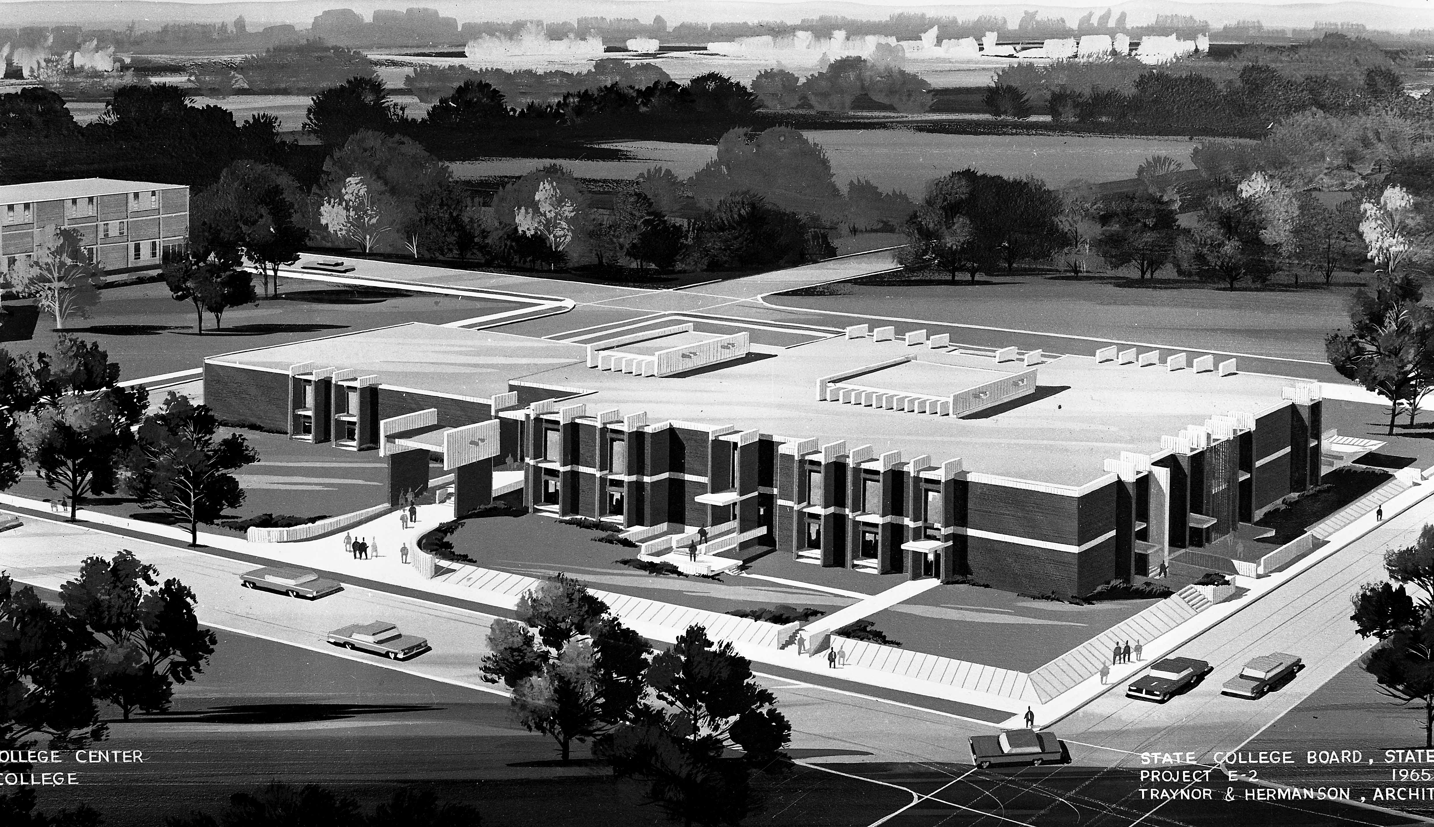 Architect's rendering of both construction phases of Atwood Memorial Center