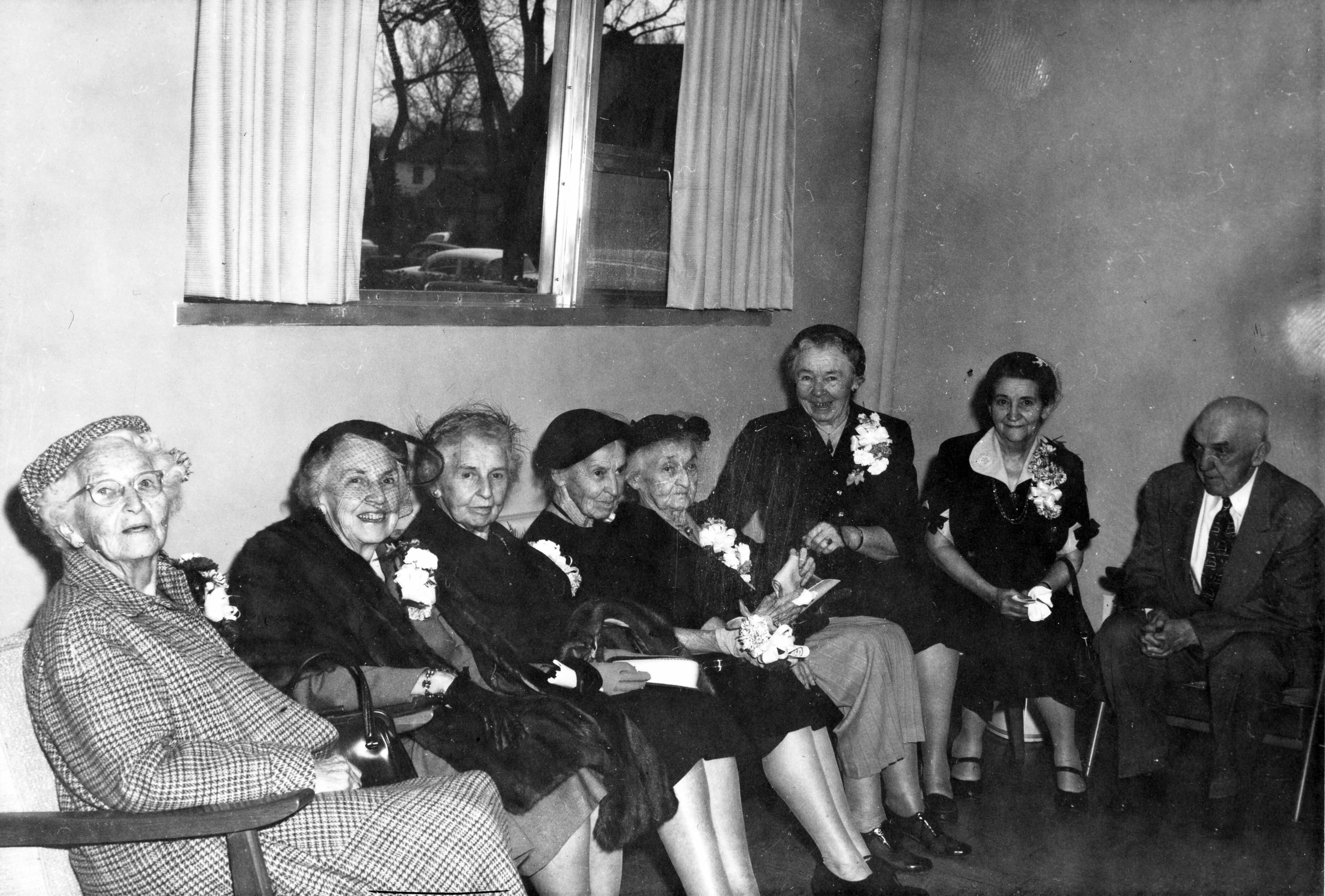 The children of William B. Mitchell at the dedication of Mitchell Hall, October 26, 1958