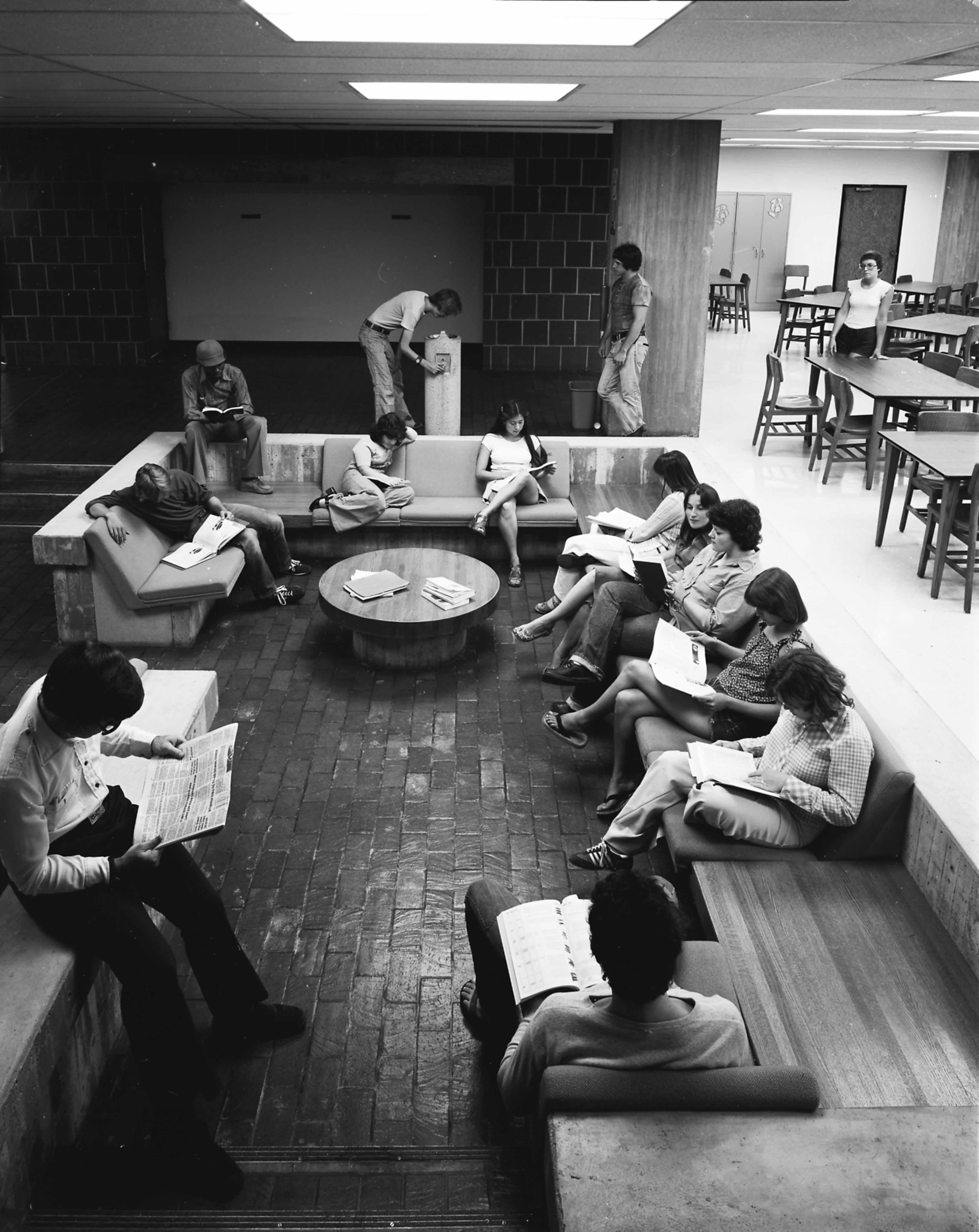 Centennial Hall sunken lounge, 1970s