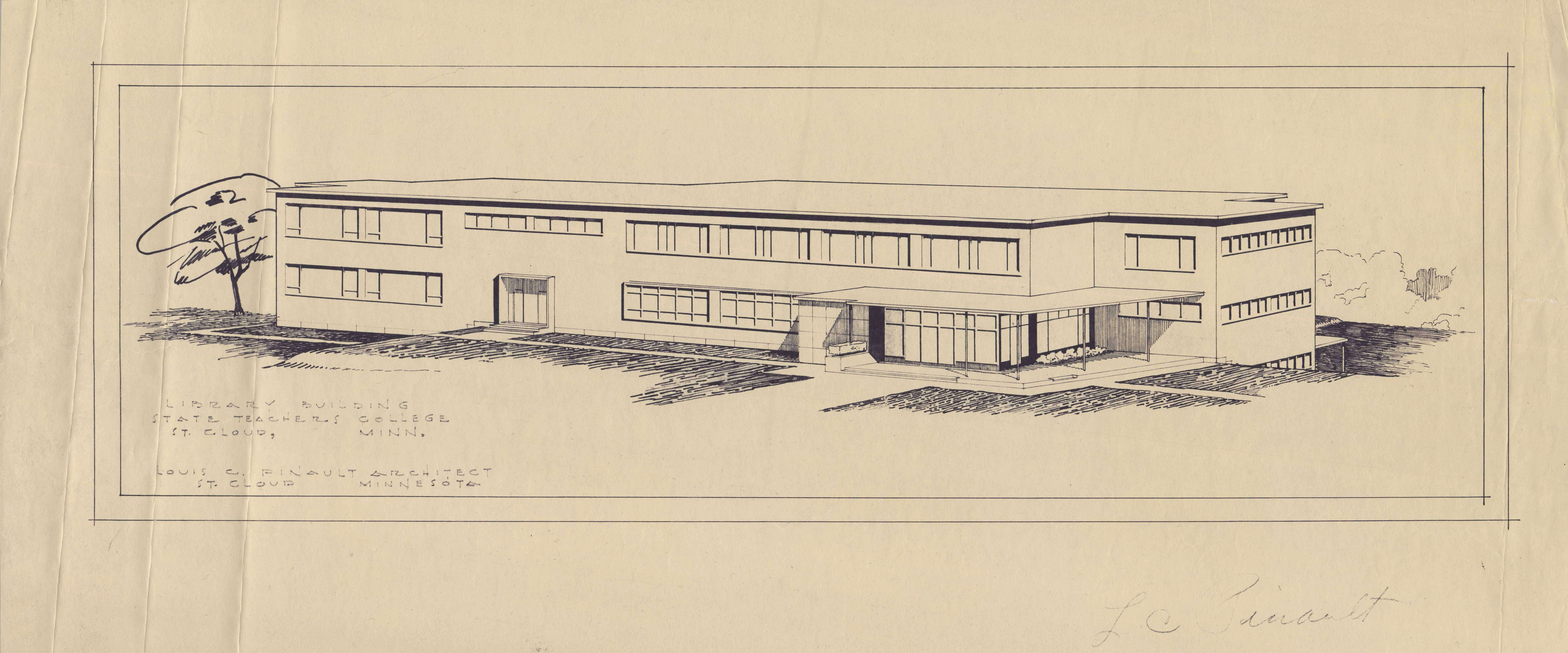 Architect rendering of Kiehle, ca. 1950