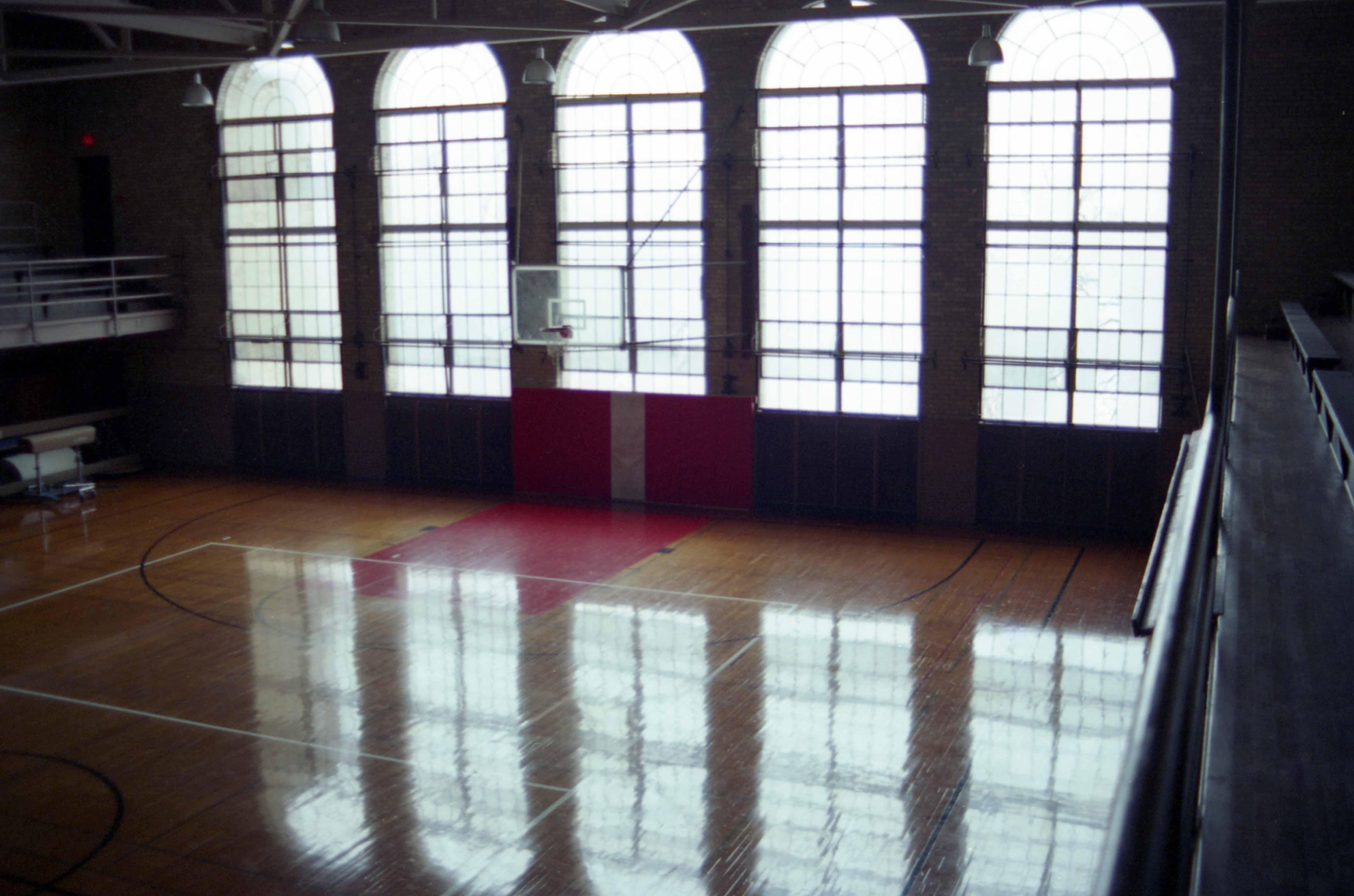 Eastman Hall gymnasium and east windows, January 1995