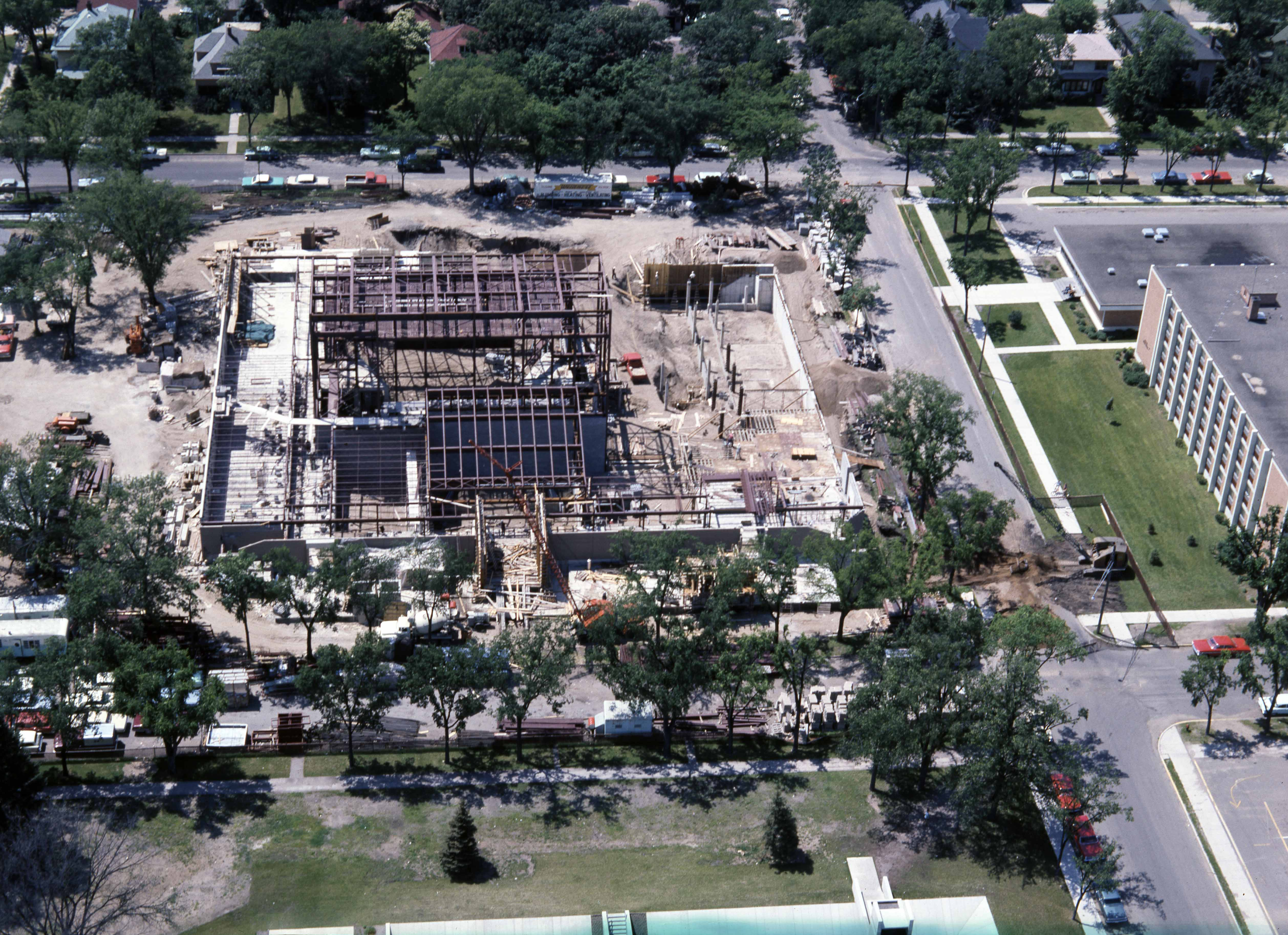 Aerial view of Performing Arts Construction, 1967