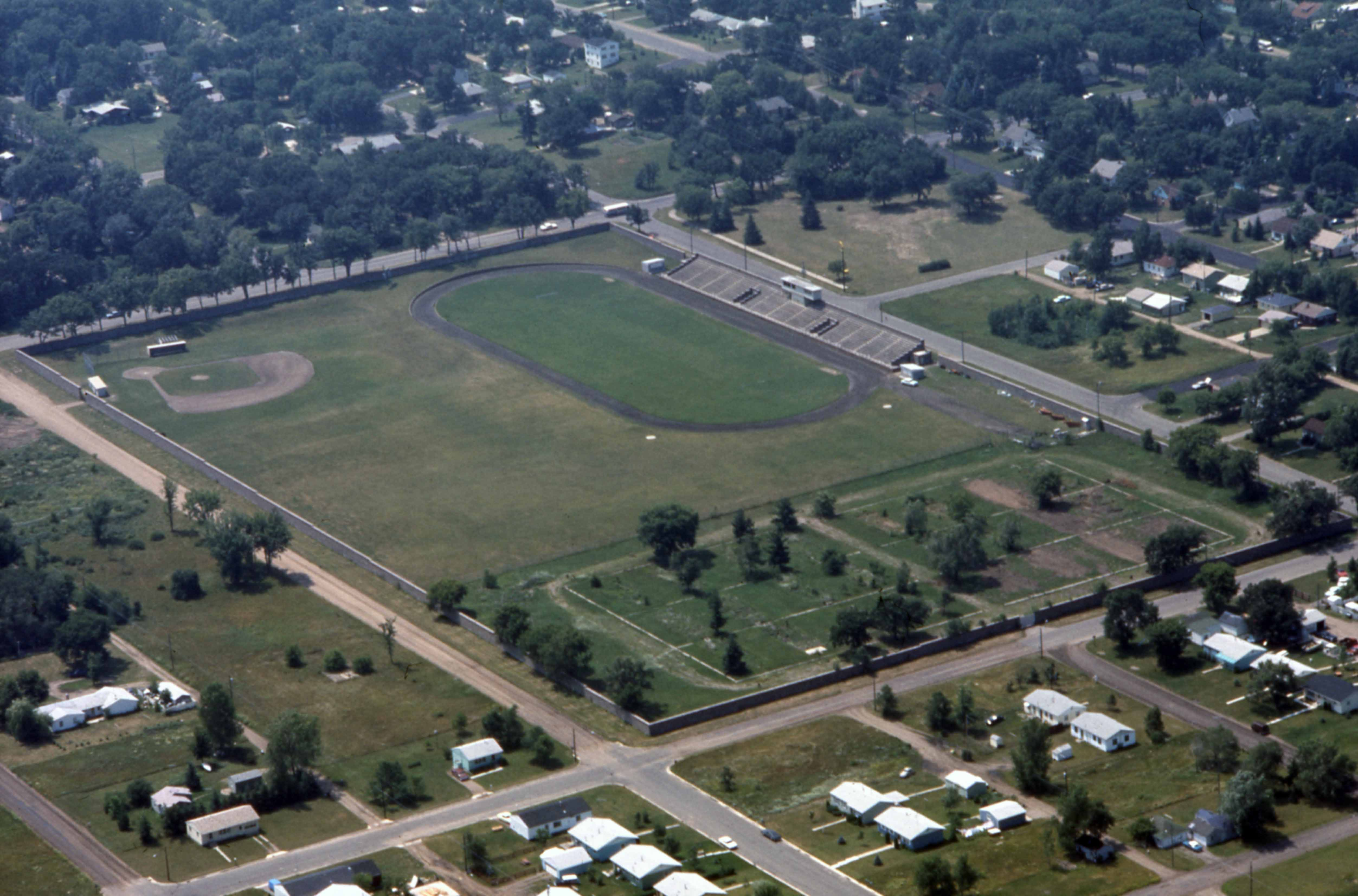 Selke Field, Brainard Hall outline, and the remnants of Veterans Housing, 1972